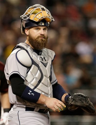 San Diego Padres catcher Derek Norris (3) in the first inning during a baseball game against the Arizona Diamondbacks.