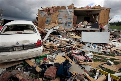 A destroyed home is seen in Millbury, Ohio, Sunday, June 6, 2010. (AP Photo/Sentinel-Tribune, J.D. Pooley)