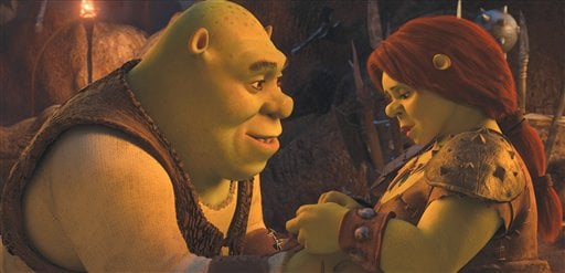 """In this file film publicity image released by Paramount Pictures, Shrek, voiced by Mike Myers, left, and Fiona, voiced by Cameron Diaz are shown in a scene from, """"Shrek Forever After.""""  (AP Photo/Paramount Pictures, DreamWorks Animation, File)"""