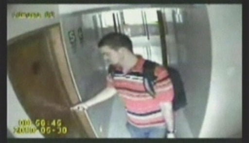 This image from security footage provided by the Lima police alledgedly shows Joran van der Sloot, as he leaves his hotel room May 30, 2010. (AP Photo/Lima Police Handout)