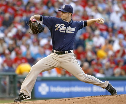 San Diego Padres starting pitcher Wade LeBlanc throws against the Philadelphia Phillies in the first inning of a baseball game Monday, June 7, 2010, in Philadelphia. (AP Photo/H. Rumph Jr)