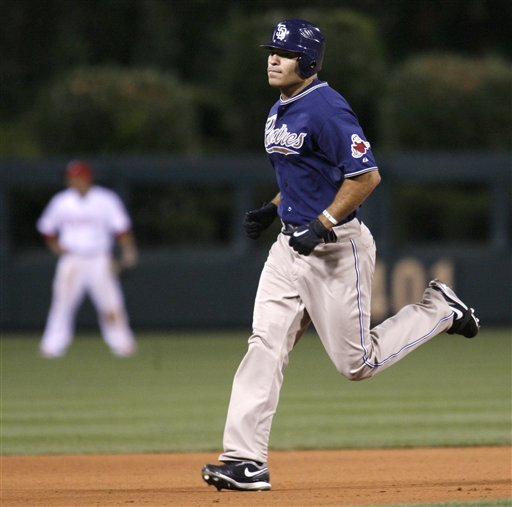 San Diego Padres' Scott Hairston runs the bases after hitting a solo home run against the Philadelphia Phillies in the seventh inning of a baseball game Monday, June 7, 2010, in Philadelphia. The Padres won 3-1. (AP Photo/H. Rumph Jr)