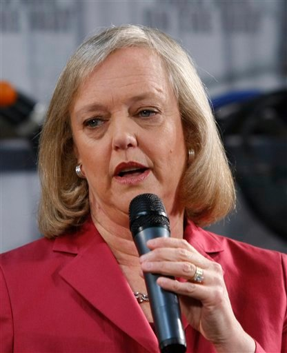 In this May 28, 2010 file photo, California Republican Gubernatorial candidate Meg Whitman campaigns in Redwood City, Calif.
