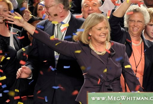 Republican gubernatorial candidate Meg Whitman celebrates after winning the Republican nomination for California governor during an election night gathering in Los Angeles, Tuesday, June 8, 2010. (AP Photo/Adam Lau)