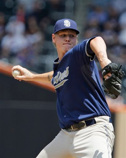San Diego Padres' Mat Latos delivers a pitch in the first inning of the first game of a doubleheader baseball game against the New York Mets Thursday, June 10, 2010, in New York. (AP Photo/Frank Franklin II)