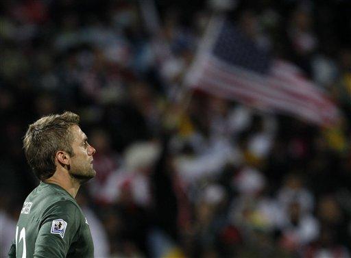England goalkeeper Robert Green reacts after United States' Clint Dempsey scored a goal during the World Cup.  (AP Photo/Bernat Armangue)
