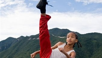 "In this publicity image released by Columbia Pictures, Jaden Smith as ""Dre"" is shown in ""The Karate Kid."" (AP Photo/Columbia Pictures - Sony, Jasin Boland, File)"