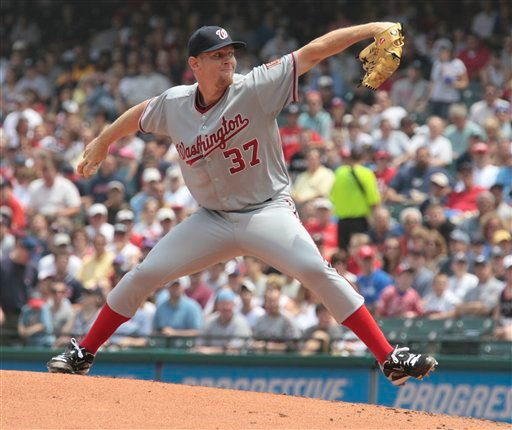 Washington Nationals starting pitcher Stephen Strasburg throws during the first inning against the Cleveland Indians in a baseball game in Cleveland on Sunday, June 13, 2010. (AP Photo/Amy Sancetta)