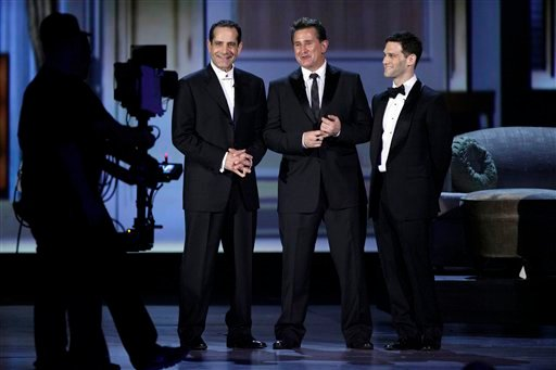 "The cast of ""Lend Me a Tenor,"" Tony Shalhoub, left, Anthony Lapaglia, center, and Justin Bartha appear onstage during the 61st Tony Awards, Sunday, June 13, 2010 in New York. (AP Photo/Richard Drew)"