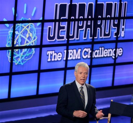 """Alex Trebek, host of the """"Jeopardy!"""" quiz show, speaks to an audience of primarily media about an upcoming """"Jeopardy!"""" show featuring an IBM computer called """"Watson"""" in Yorktown Heights, N.Y., Thursday, Jan. 13, 2011."""