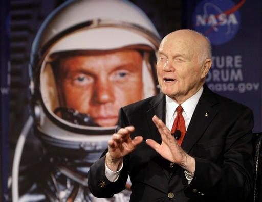 In this Feb. 20, 2012, file photo, U.S. Sen. John Glenn talks with astronauts on the International Space Station via satellite in Columbus, Ohio.