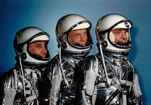 This May 1961 file photo shows astronauts, from left, Virgil I. Grissom, John Glenn and Alan Shepard.