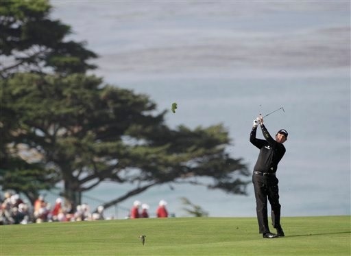 Phil Mickelson hits a shot on the 11th hole during the first round of the U.S. Open golf tournament Thursday, June 17, 2010, at the Pebble Beach Golf Links in Pebble Beach, Calif. (AP Photo/David J. Phillip)