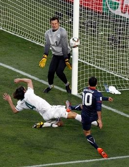 United States' Landon Donovan scores during the World Cup group C soccer match between Slovenia and the United States at Ellis Park Stadium in Johannesburg, South Africa, Friday, June 18, 2010.
