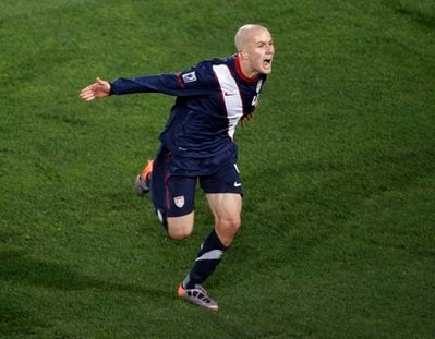 United States' Michael Bradley celebrates after scoring a goal during the World Cup group C soccer match between Slovenia and the United States at Ellis Park Stadium in Johannesburg, South Africa, Friday, June 18, 2010.