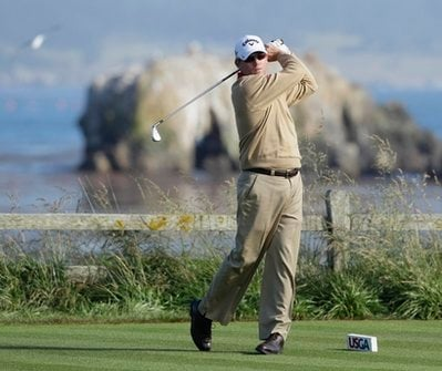 Shaun Micheel hits a drive on the 18th hole during the first round of the U.S. Open golf tournament Thursday, June 17, 2010, at the Pebble Beach Golf Links in Pebble Beach, Calif.