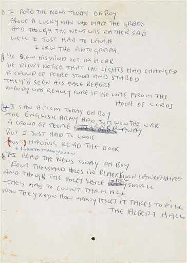 "The lyrics to ""A Day in the Life"" by the Beatles is being offered at auction by Sotheby's in New York."