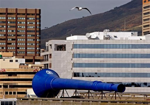 A gaint 'vuvuzela', Zulu for stadium trumpet, displayed on top of a unused highway in the city of Cape Town, South Africa.