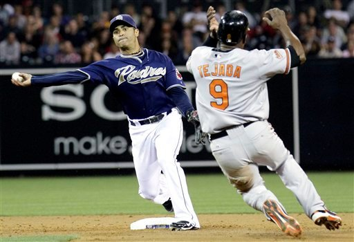 San Diego Padres' Jerry Hairston Jr., left, throws to first for the double play as Baltimore Orioles' Miguel Tejada arrives late to second during their baseball game Friday, June 18, 2010 in San Diego. (AP Photo/Gregory Bull)