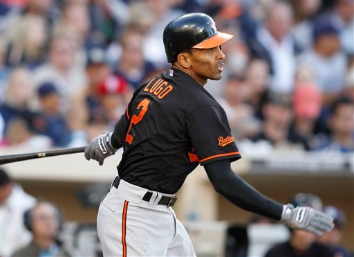 Baltimore Orioles' Nick Markakis follows through on a double hit during the third inning of a baseball game against the San Diego Padres Saturday, June 19, 2010 in San Diego. (AP Photo/Denis Poroy)