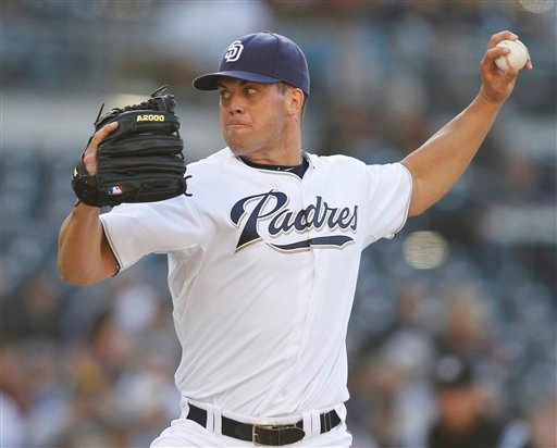 San Diego Padres pitcher Clayton Richard delivers a pitch during the second inning of a baseball game against the Baltimore Orioles Saturday, June 19, 2010 in San Diego. (AP Photo/Denis Poroy)