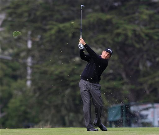 Phil Mickelson hits a shot on the 16th hole during the second round of the U.S. Open golf tournament Friday, June 18, 2010, at the Pebble Beach Golf Links in Pebble Beach, Calif. (AP Photo/David J. Phillip)