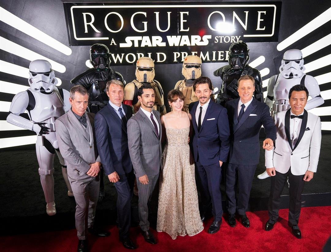 The cast of Rogue One: A Star Wars Story at the World Premiere at The Pantages Theatre Dec. 10, 2016, in Hollywood, CA, where Nissan debuted their new Star Wars Limited Edition Nissan Rogue. (Photo: Colin Young-Wolff/Invision for Nissan/AP Images)