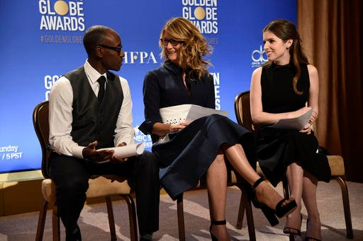 Don Cheadle, from left, Laura Dern and Anna Kendrick prepare to announce the nominations for the 74th annual Golden Globe Awards at the Beverly Hilton hotel on Monday, Dec. 12, 2016, in Beverly Hills, Calif. The 74th annual Golden Globe Awards will be hel