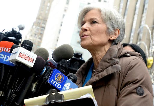 """Green Party presidential candidate Jill Stein speaks on the recount effort outside Trump Tower vowing 'to fight tooth and nail to verify the accuracy, security, and fairness of the vote"""" on December 5, 2016 in New York City, NY, USA."""