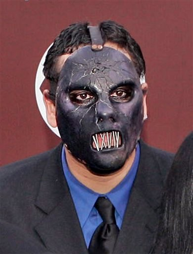 FILE - In this Feb. 13, 2005 file photo, Paul Gray from the group Slipknot arrives for the 47th Annual Grammy Awards at the Staples Center in Los Angeles.