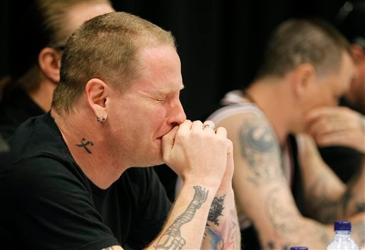 Slipknot lead singer Corey Taylor reacts after speaking about the death of bassist Paul Gray during a news conference, Tuesday, May 25, 2010, in Des Moines, Iowa.