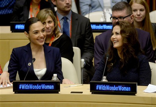 Original and remake Super Woman stars Lynda Carter and Gal Gadot seen at the ceremony held in the United Nations Headquarters ECOSOC Chamber.