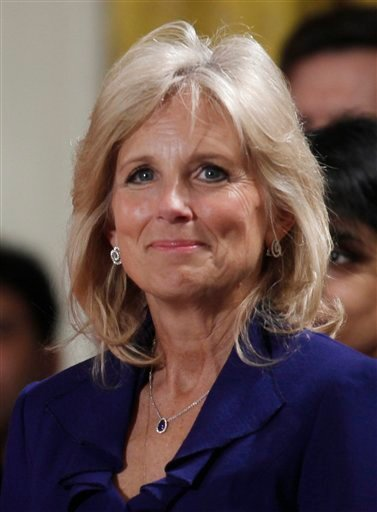 In this Nov. 24, 2009 file photo, Jill Biden, wife of Vice President Joe Biden is shown during a State Arriva for India's Prime Minister Manmohan Singh in the East Room of the White House in Washington. (AP Photo/Charles Dharapak, file)