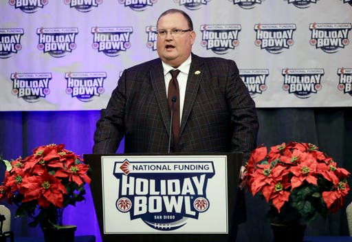 Minnesota head coach Tracy Claeys speaks during a news conference for the upcoming Holiday Bowl NCAA college football game Wednesday, Dec. 14, 2016, in San Diego.