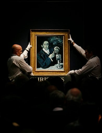 Pablo Picasso's 'Portrait d'Angel Fernandez de Soto', which sold for £34,761,250 ($51,585,695, 41,922,068 euro), the 2nd highest price for a work of art sold at Christie's London, is displayed during the Impressionist/Modern Evening Sale