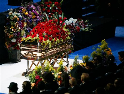 In this July 7, 2009 file photo, the gold casket of Michael Jackson is shown at the memorial service for the late pop star in Los Angeles. (AP Photo/Mario Anzuoni,file)