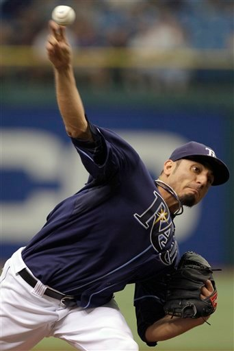Tampa Bay Rays pitcher Matt Garza delivers to the San Diego Padres during the first inning of a baseball game, Thursday, June 24, 2010, in St. Petersburg, Fla. (AP Photo/Chris O'Meara)