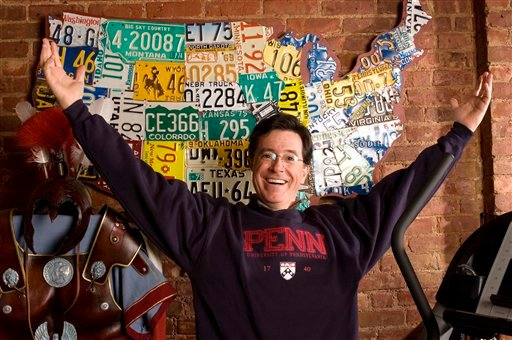 In this April 9, 2008 file photo, Stephen Colbert is photographed at his office in New York. In a tongue-in-cheek call for immigration reform, farm workers are teaming up with comedian Colbert to challenge unemployed Americans: Come on, take our jobs.