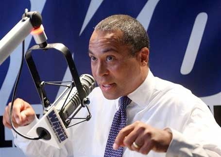 Massachusetts Gov. Deval Patrick speaks during a radio debate at the WRKO-AM 680 studios.