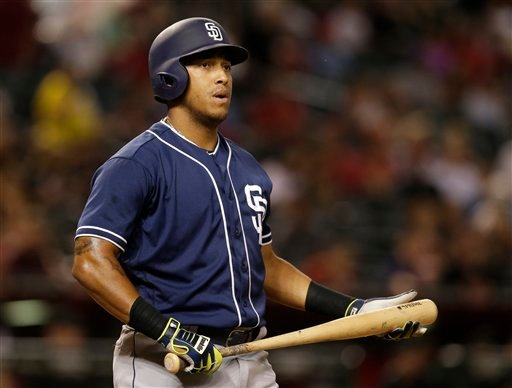 San Diego Padres third baseman Yangervis Solarte (26) in the first inning during a baseball game against the Arizona Diamondbacks, Friday, Sept. 30, 2016, in Phoenix.