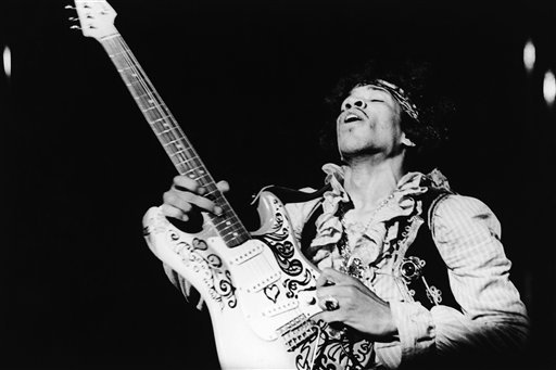 American rock guitarist Jimi Hendrix performing with The Jimi Hendrix Experience at the Monterey Pop Festival, California, USA, June 18, 1967.