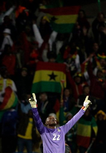 Ghana goalkeeper Richard Kingson reacts at the end of the World Cup round of 16 soccer match between the United States and Ghana at Royal Bafokeng Stadium in Rustenburg, South Africa, Saturday, June 26, 2010.