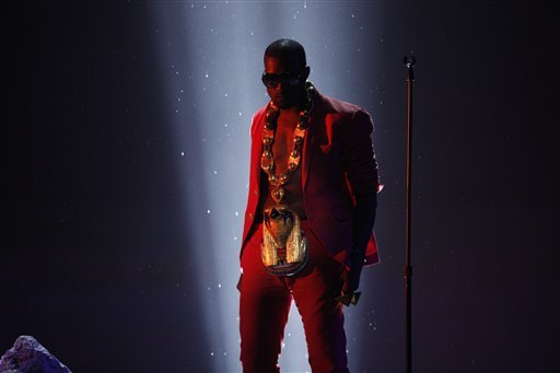 "Kanye West performs ""Power"" at the BET Awards on Sunday, June 27, 2010 in Los Angeles."