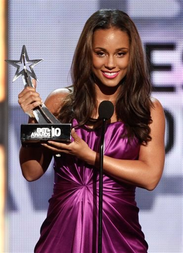 Alicia Keys accepts the award for Best Collaboration at the BET Awards on Sunday, June 27, 2010 in Los Angeles.