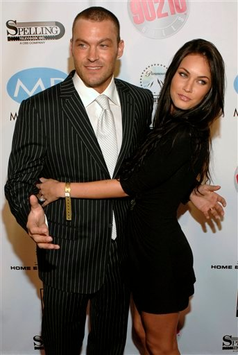 FILE - In this Nov. 3, 2006 file photo, actor Brian Austin Green, left, and Megan Fox arrive for the Beverly Hills 90210 and Melrose Place first season DVD launch party in Beverly Hills, Calif.