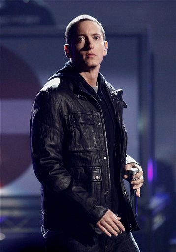 In this June 27, 2010 file photo, Eminem performs at the BET Awards in Los Angeles. (AP Photo/Matt Sayles, file)