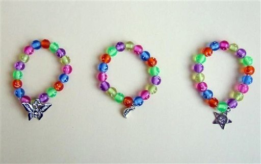 "This image provided by the U.S. Consumer Product Safety Commission shows ""Children's Happy Charm Bracelets"" that have been subjected to a recall for containing cadmium, a toxic heavy metal."