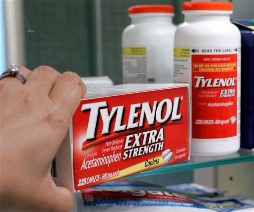 In this June 30, 2009 file photo, Tylenol Extra Strenth is shown in a medicine cabinet at a home in Palo Alto, Calif. (AP Photo/Paul Sakuma, file)
