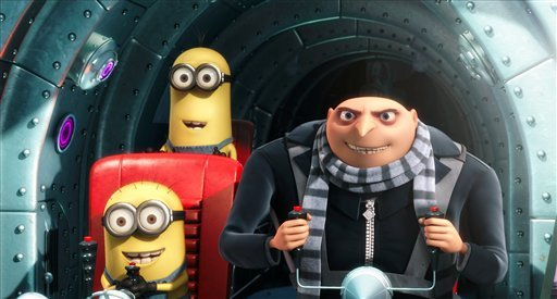 "In this film publicity file image released by Universal Pictures, Gru, voiced by Steve Carell, is shown with two of his minions in a scene from the 3-D CGI feature, ""Despicable Me"", about a villain who meets his match in three little girls. (AP)"