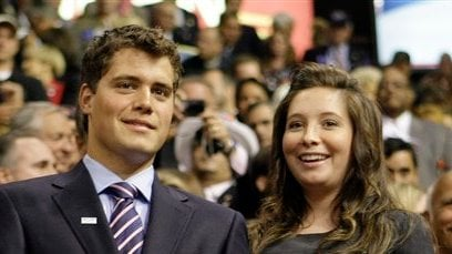This Sept. 3, 2008 file photo shows Bristol Palin, daughter of Alaska Gov. Sarah Palin and former Republican vice presidential candidate, and Levi Johnston at the Republican National Convention in St. Paul, Minn. Bristol Palin tells the magazine US Weekly